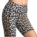 FITTIN Leopard Printed Sports Shorts for Women with Pocket - for Yoga Workout Active Fitness Running Gym Brown Medium