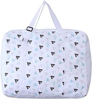 Belsmi Foldable Travel Duffle Bag Waterproof Storage Carry Luggage Gym Sports Tote Bag (White Geometry)