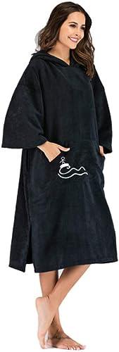 AUMING Serviette à Capuche Peignoir de Plage en Molleton Peignoir en Microfibre à séchage Rapide pour Adulte (Couleur   Noir, Taille   75  110cm)