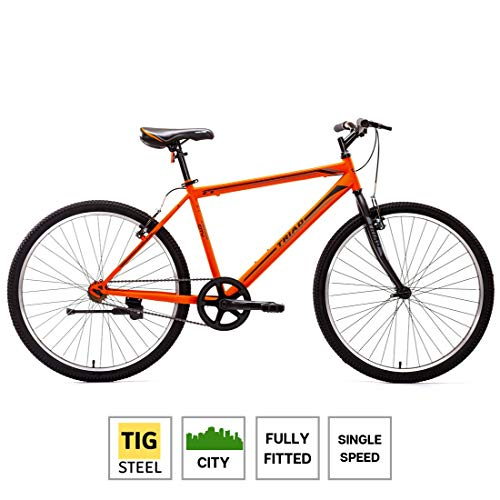 Triad C1 26T Single Speed - Fully Fitted City Bicycle (Matte Orange) - 2 Year Frame & Fork Warranty