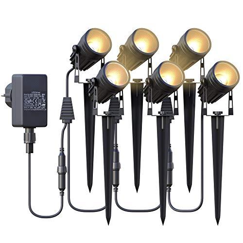Azhien Gartenbeleuchtung, Gartenstrahler LED mit Erdspieß,6x3W 1800Lm Gartenleuchte,IP65 Warmweiß COB LED Gartenlampe 17.5M für Außen Wegbeleuchtung Rasenlicht Landschaftslampe Gartenleuchte,6er Set