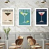 PGMZQHGF Cosmopolitan, Cartel de Mojito, Pintura en Lienzo de cóctel expreso, Cuadro de Pared de cóctel de Martini, decoración de Bar Vintage   40x60cmx3 sin Marco