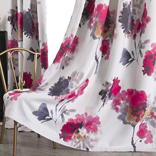 Taisier Home Watercolor Flower Print Curtains 84 Inches Long for Bedroom Living Room Chinese product image