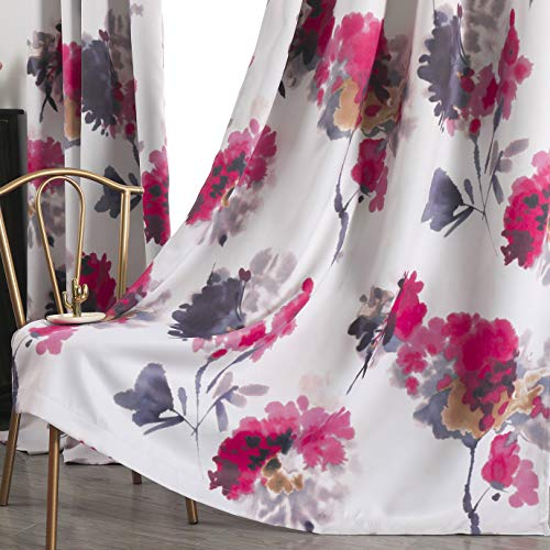 Taisier Home Watercolor Flower Print Curtains 84 Inches Long for Bedroom/Living Room, Chinese Traditional Ink Painting Stylized Leaves and Flower,Artwork(2 Panels Set,Ring Top,Multicolour)