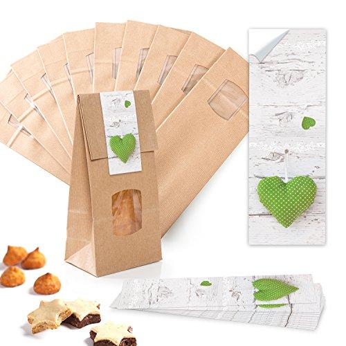 Verpakking 25 kleine bruine blokbodemzakjes cadeau-zakje met venster + pergamijn inzetstuk 10,5 x 6,5 x 29 cm + 25 stickers 5 x 15 cm hart groen wit gestippeld