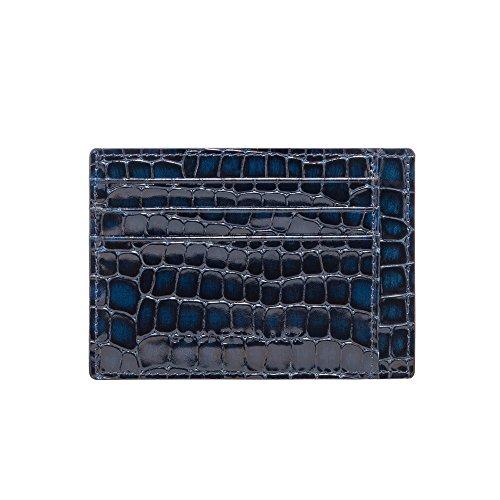 GOLDBLACK premium designer creditcardetui lederen etui Milano blauw [echt leer] het origineel, klein, dun, luxe kaartenetui nobele portmonee ultra slim etui tas van echt leer, 1 jaar garantie