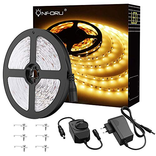 Onforu 5m LED Strip Warmweiss Dimmbar, 3000K LED Streifen Selbstklebend, 300 LEDs Band mit 12V Netzteil, 2835 LED Lichtband Flexibel Lichtstreifen Warmweiß, LED Light Strip für innen Küche, Deko usw