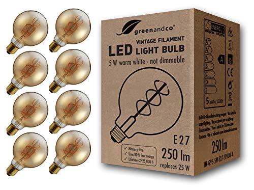 8x Bombilla de filamento LED greenandco Vintage E27 G95 5W (corresponde a 25W) 250lm 2000K (blanco cálido) 360° 230V vidrio, sin parpadeo, no regulable