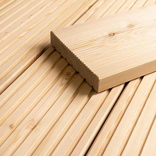 HORI® sibirische Lärche Terrassendiele Komplettset Massiv Nadelholz I Bausatz inkl. 45 x 70 mm Unterkonstruktion I Fläche: 1 Muster I Muster Dielenlänge