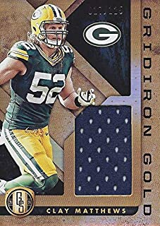 Clay Matthews 2018 Panini Gold Standard Football GRIDIRON GOLD (Game-Used Jersey) Green Bay Packers Memorabilia Insert Collectible NFL Football Trading Card #017/125