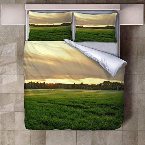JNBGYAPS 3D Effect Printed duvet cover Steppe forest Bedding set with Pillocases (with Zipper Closure) Soft Microfiber Quilt Cover Single135X200cm