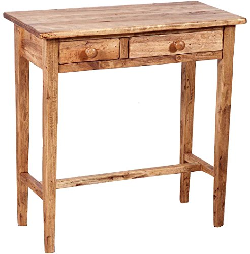 Biscottini Table Basse en Tilleul Massif Finition Noyer L73xPR36xH75 cm