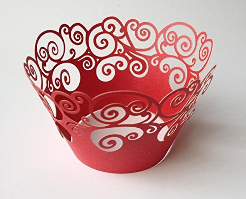 12 pcs Swirl Design Cupcake Wrappers for Standard Size Cupcake Liners (Choose Color) (Red)
