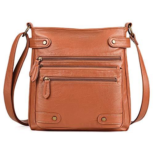 QXbecky Bolso pequeño diagonal de un solo hombro de moda marrón y negro bolso diagonal pequeño de cuero lavado pu para mujer bolso cuadrado pequeño