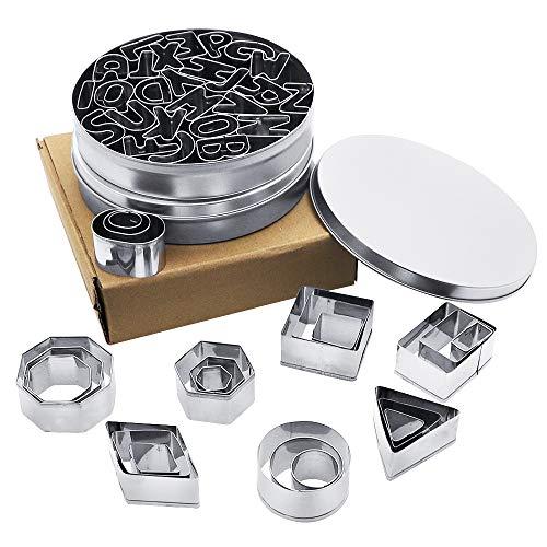 PUDSIRN - Set di 50 stampini per biscotti, 26 pezzi, numero dell'alfabeto e 24 pezzi, motivo geometrico, in acciaio inox, antiaderente, per biscotti, torte, frutta e verdura