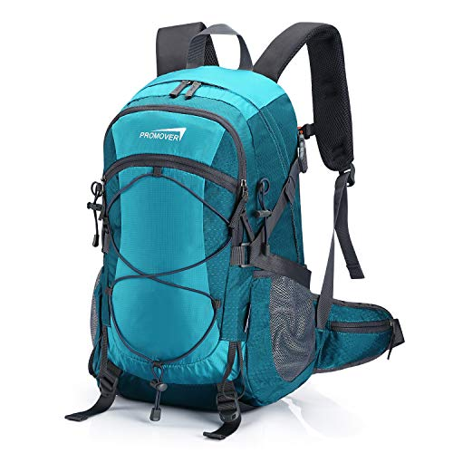 Promover Wanderrucksack 35 L wasserdichte Outdoor Rucksäcke mit Regenschutz Leichte Tagesrucksäcke für Reisen Camping Männer und Frauen (Seeblau)