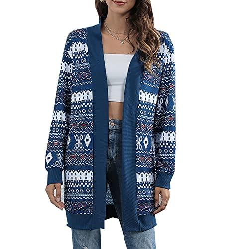 LaiYuTing Chaqueta De Punto con Estampado De Leopardo NavideO con Efecto Tie-Dye para Mujer OtoO/Invierno