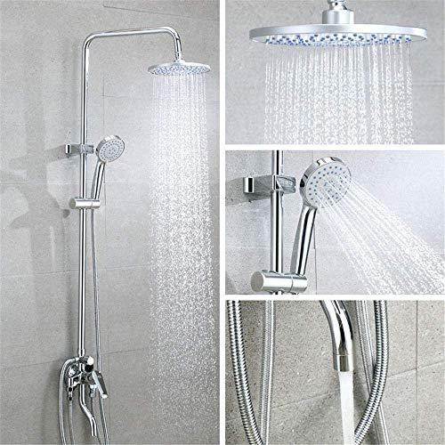 Sistema de ducha Juego de ducha tipo lluvia para baño montado en la pared Grifo para bañera con rociador de mano y grifo para bañera Barra deslizante ajustable, acabado cromado