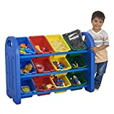 ECR4Kids 3-Tier Toy Storage Organizer with Bins, Blue with 12 Assorted-Color Bins, GREENGUARD Gold Certified Toy Organizer and Storage for Kids' Toys, Kids' Toy Storage (ELR-0216)