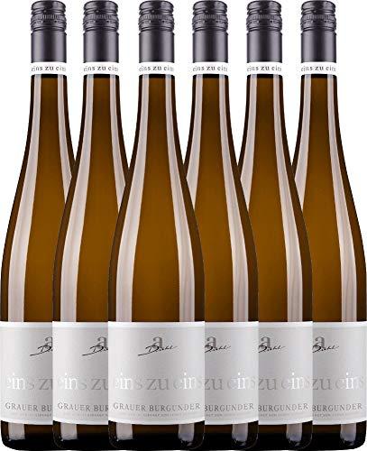 VINELLO 6er Weinpaket Weißwein - Grauer Burgunder eins zu eins Kabinett 2019 - A. Diehl mit Weinausgießer | veganer Weißwein | deutscher Sommerwein aus der Pfalz | 6 x 0,75 Liter