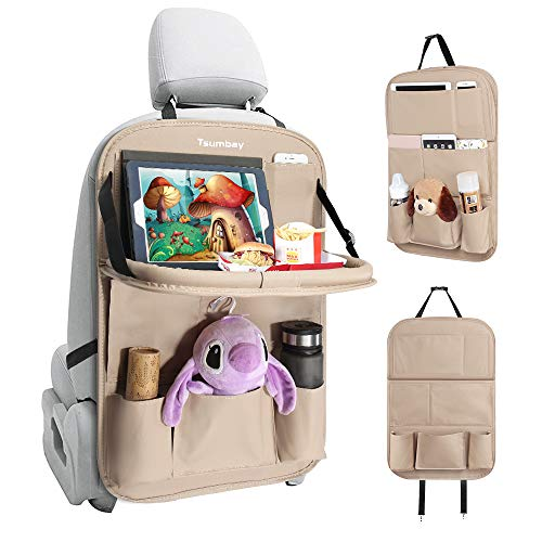 Tsumbay Car Backseat Organizer with Tablet Holder,9 Storage Pockets PU Leather Car Storage Organizer with Foldable Table Tray Car Seat Back Protectors Kick Mats for Kids Travel Accessories (Beige 1 Pcs)