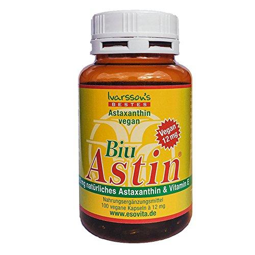 Astaxanthin I 100 Kapseln vegan I Ivarssons BiuAstin I 12 mg natürliches Astaxanthin aus Hawaii I Sonnenschutzkapseln mit Vitamin E I pflanzlicher Zellschutz I natürlicher Sonnenschutz