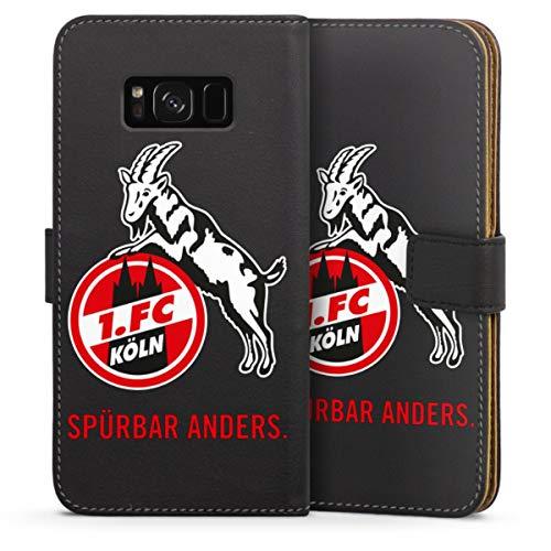 DeinDesign Klapphülle kompatibel mit Samsung Galaxy S8 Plus Duos Handyhülle aus Leder schwarz Flip Hülle 1. FC Köln Offizielles Lizenzprodukt transparent