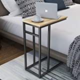 Homemaxs C Table Sofa Side Table for Small Space, Snack Table with...