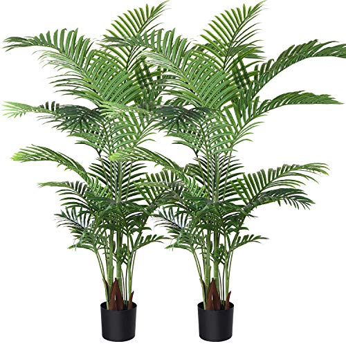 Fopamtri Artificial Areca Palm Plant 5 Feet Fake Palm Tree with 17 Trunks Faux Tree for Indoor Outdoor Modern Decoration Feaux Dypsis Lutescens Plants in Pot for Home Office (Set of 2)