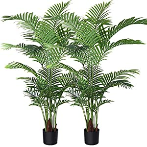 Silk Flower Arrangements Fopamtri Artificial Areca Palm Plant 5 Feet Fake Palm Tree with 17 Trunks Faux Tree for Indoor Outdoor Modern Decoration Feaux Dypsis Lutescens Plants in Pot for Home Office Housewarming Gift