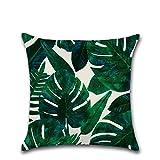 Funda de cojín con hojas y plantas tropicales Bigboba serie salón decorativa 45cm x 45cm, Algodón y lino, D, 45cm*45cm