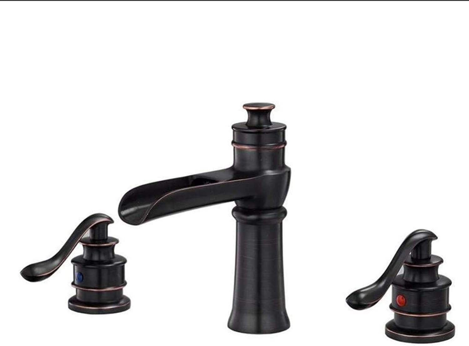 Luxury Plating Faucet Faucet Black Ancient Hot and Cold Lavatory Faucet Double Open Three Hole Wash Basin Faucet