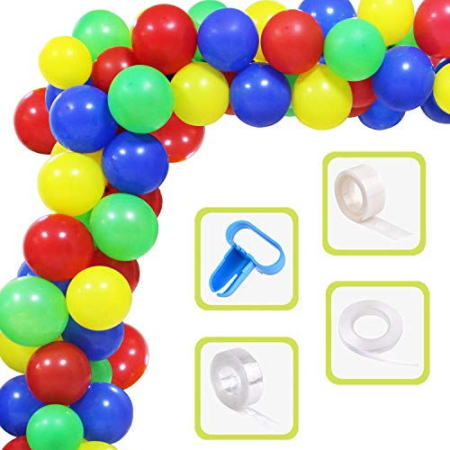 Yiran Superhero Balloon Arch Garland Kit 60 Latex Blue Green Yellow Red Balloons Set with 16ft Balloon Strip Tape, Tying Tool etc for Birthday Graduations, Engagements Superhero Themed Party Decor