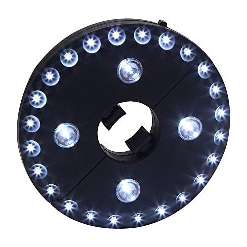 Regenschirm LED Leuchtmittel Regenschirm Pole Camping Zelte Light 28LED Sonnenschirm Licht, drahtlos Regenschirm Beleuchtung (nicht inklusive Akku) schwarz