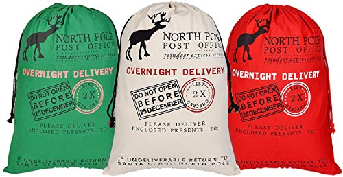 AOOTOOSPORT 3 Pcs Large Santa Sacks Christmas Canvas Bag with Drawstrings, Extra Large Reusable Santa Sack for Gifts, Christmas Halloween Thanksgiving New Year Party Supplies - Size 27.5 x19.5 Inch