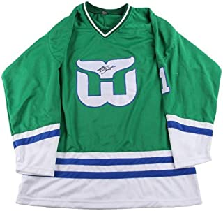 9e0216f3e13 Mike Liut Autographed Jersey - Whalers Green UACC Exact Proof - PSA/DNA  Certified -