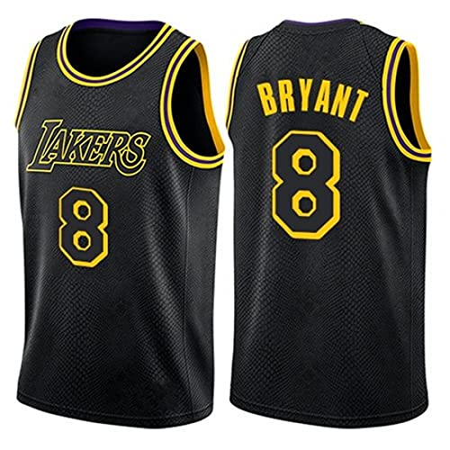 MMWW Jersey De Baloncesto para Adultos, NBA Lakers Kobe Bryant # 8 Retro Fitness Tank Top Sports Top,Negro,S