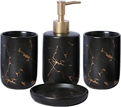 EPFamily Creative Golden Black Marble Pattern Marble Bathroom Accessories Set,4 Pieces Include Soap Dispenser,2 Tumblers,S...