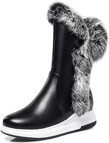 ZHRUI Stiefel de Nieve para damen Tacones Planos schuhe de algodón de Invierno con Cremallera Gruesa Peluche Punta rotonda Calzado (Farbe   schwarz, tamaño   6.5=40 EU)