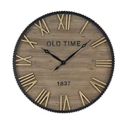 Benzara Wood Metal Wall Clock 36 D, Brown, Black