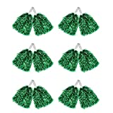 Hooshing 12 Pcs Cheerleading Pom Poms Metallic Foil Pom Poms with Plastic Handles for Team Sports Party Costume, Green