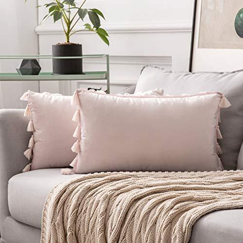 MIULEE 2er Set Samt Kissenbezug Quaste Kissenhülle Dekorative Tassel Dekokissen mit Verstecktem Reißverschluss Sofa Schlafzimmer 12 x 20 Inch 30 x 50 cm Rosa
