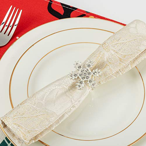 ANPHSIN Set of 8 Christmas Napkin Rings- Snowflake with Sparkly Rhinestone Napkin Holder Rings for Christmas Holiday Party Dinner Wedding Banquet Dinning Table Settings Decoration (Silver)