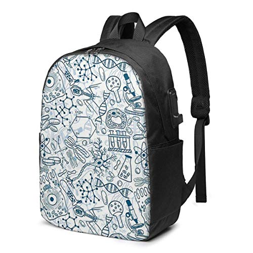 Germy Science Sick Blues USB School Backpack Large Capacity Canvas Satchel Casual Travel Daypack for Adult Teen Women Men 17in