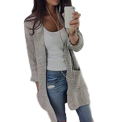 WHSHINE Mode Herbst Winter Damen Cardigan Langarm Strickjacke Strickweste Lang Einfarbig Kimono Pullover Outwear Tops Herbstjacke Strickmaterial Sweater Coat (Grau,M)