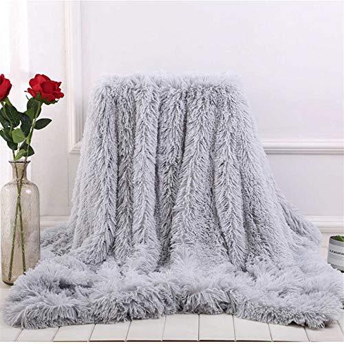 Aujelly Flauschige Kuscheldecke Shaggy Langhaar Decke Microfaser Kunstfell TV Decke Flauschig Klimaanlage Decke für Couch Bett Grau 80 x 120 cm