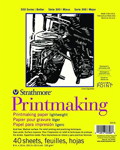 Strathmore Paper Pad 300 Series Lightweight Printmaking, 8'x10', White, 40 Sheets