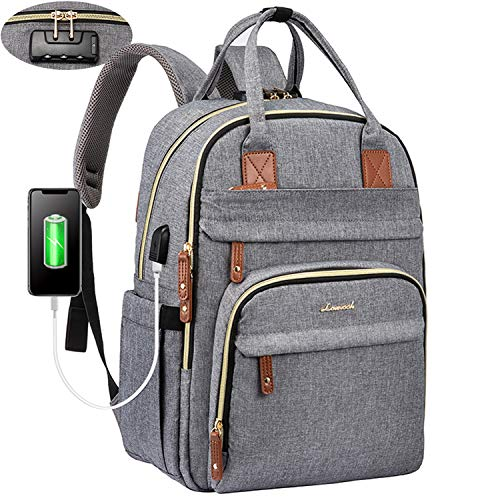 LOVEVOOK Laptop Backpack for Men & Women Unisex Travel Anti-Theft Bag Business Work Computer Backpacks Purse College School Student Bookbag, Casual Hiking Daypack with Lock, 15.6 Inch, Grey