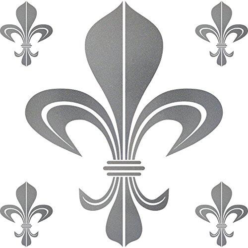 GreenIT Set Aufkleber Tattoo Bourbon Florenz Lilie Fleur de Lis Auto Tür Fenster Deko Folie (Silber, Bourbon)