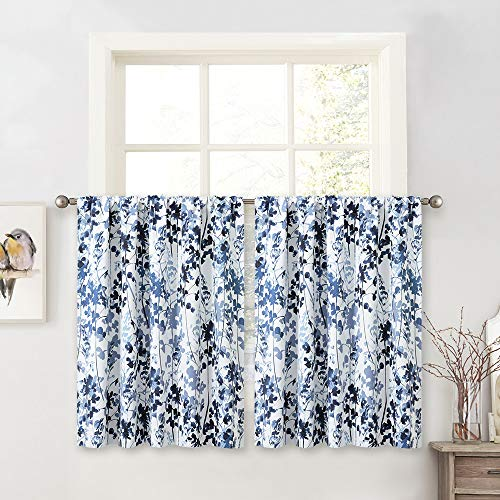 KGORGE Kitchen Curtains Valances Set - Farmhouse Curtain Tiers Fresh Watercolor Botanical Print Curtains Half Window Drapes for Living Room Kitchen Dining, 2 Panels, 52 x 36 inches, Blue